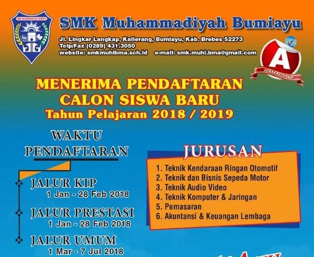 Pendaftaran Siswa Baru SMK Muhammadiyah Bumiayu Tahun Pelajaran 2018/2019